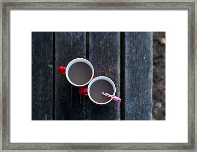 Christmas Coffee Cup With Candy Cane Framed Print