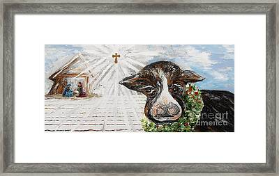 Christmas Cow - Oh To Have Been There... Framed Print by Eloise Schneider
