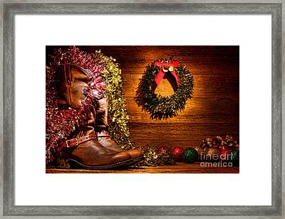 Christmas Cowboy Boots Framed Print by Olivier Le Queinec