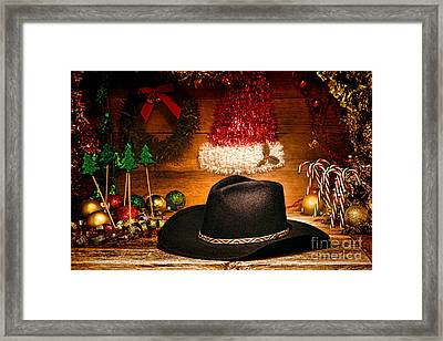 Christmas Cowboy Hat Framed Print