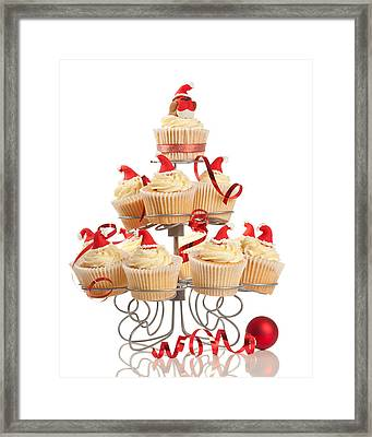 Christmas Cupcakes On Stand Framed Print