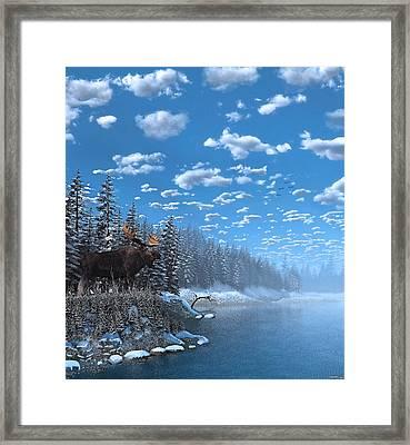 Christmas Day At Moose Lake Framed Print by Ken Morris