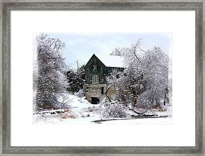Christmas Day At The Grist Mill Framed Print by Davandra Cribbie