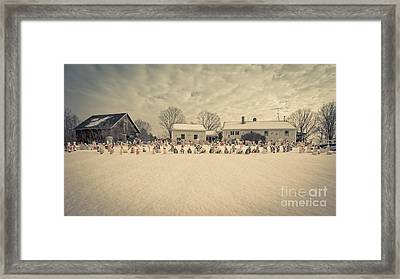 Christmas Decorations In The Snow Framed Print by Edward Fielding