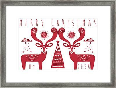 Christmas Deers Framed Print