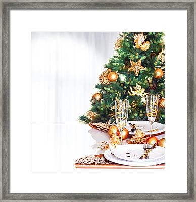 Christmas Dinner Border Framed Print