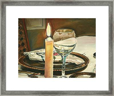Christmas Dinner With Place Setting Framed Print by Jennifer Lycke