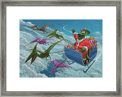 Christmas Dinosaur Santa Ride Framed Print by Martin Davey