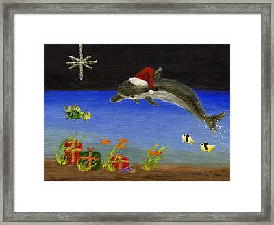 Christmas Dolphin And Friends Framed Print by Jamie Frier