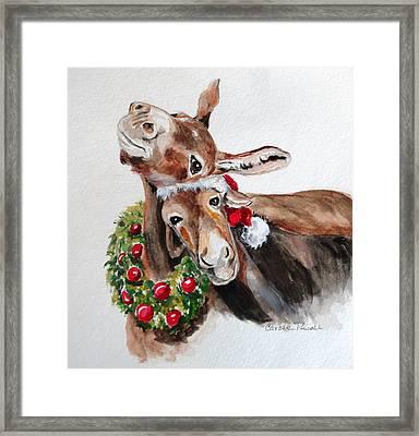Christmas Donkeys Framed Print by Carole Powell