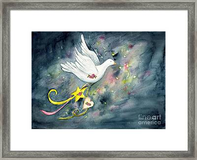 Christmas Dove In Flight Framed Print