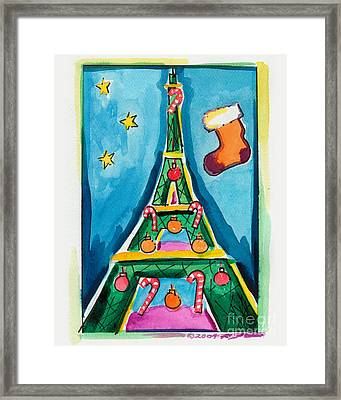 Christmas Eiffel Tower Painting Framed Print