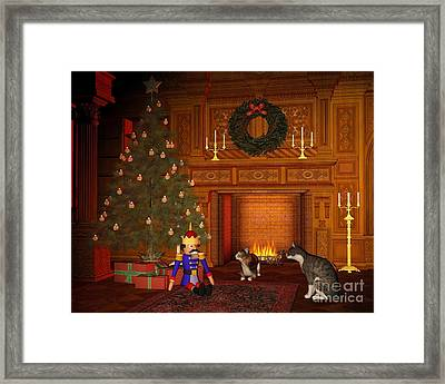 Christmas Eve Cats By The Fire Framed Print