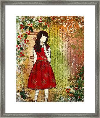 Christmas Eve Mixed Media Folk Artwork Of Young Girl Framed Print