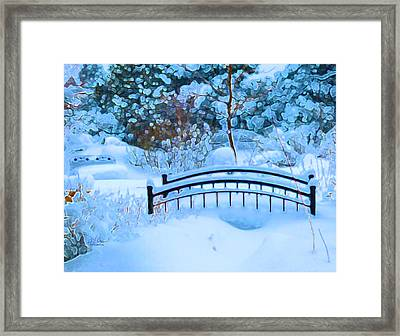 Christmas Eve Storm And The Little Garden Bridge Framed Print