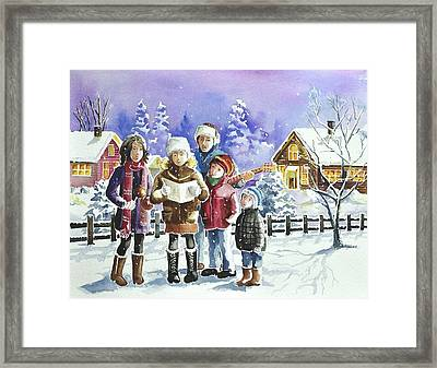 Christmas Family Caroling Framed Print