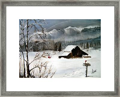 Christmas Farm House Framed Print