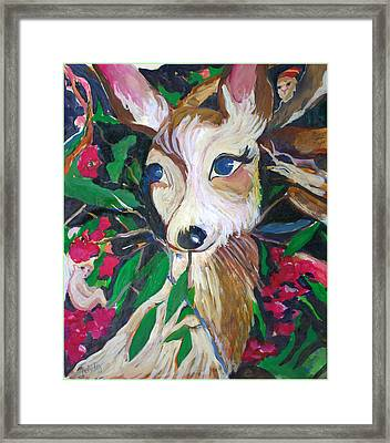 Christmas Fawn Framed Print by Mindy Newman