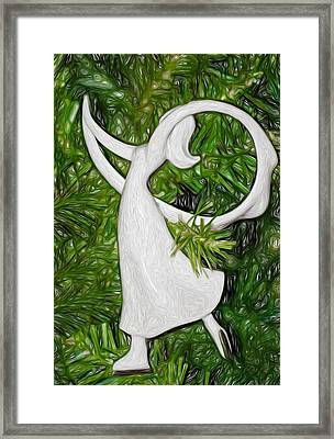 Christmas Figure Skater Framed Print by Steve Harrington