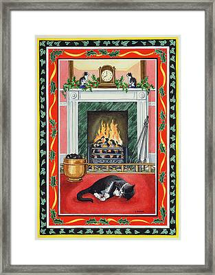 Christmas Fire Framed Print by Lavinia Hamer