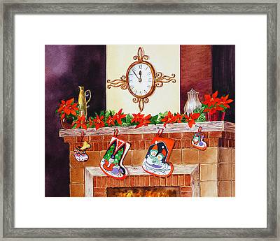 Christmas Fireplace Time For Holidays Framed Print by Irina Sztukowski