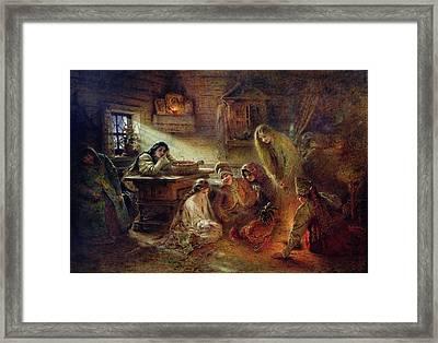 Christmas Fortune Telling Oil On Canvas Framed Print by Konstantin Egorovich Makovsky