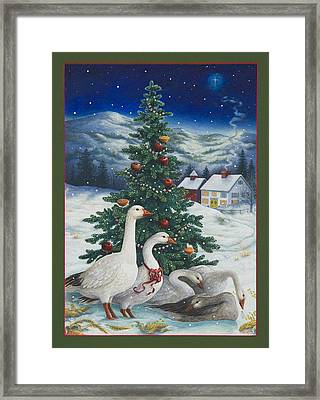 Christmas Geese Framed Print by Lynn Bywaters
