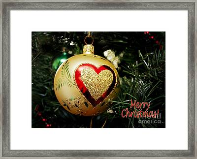 Christmas Gold Ball With Heart And Greeting Framed Print