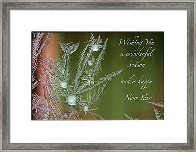 Framed Print featuring the mixed media Christmas Greeting Card Ice Flowers by Peter v Quenter