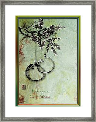 Framed Print featuring the painting Christmas Greeting Card With Ink Brush Drawing by Peter v Quenter