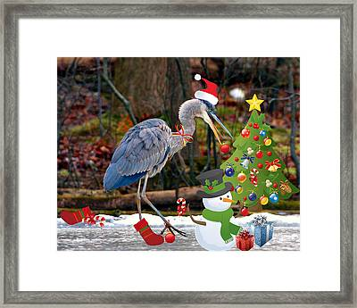 Christmas Heron Framed Print by Angel Cher