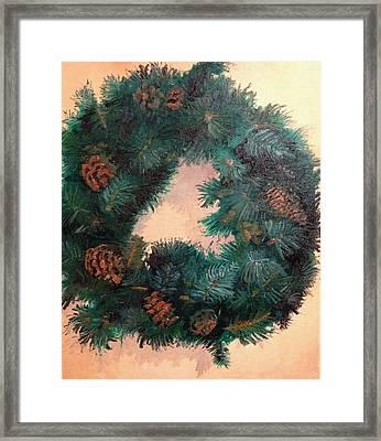 Christmas Holiday Wreath Framed Print