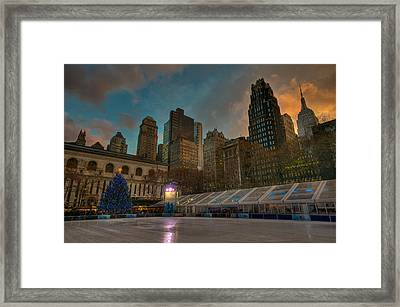 Christmas In Bryant Park Framed Print by Mike Horvath