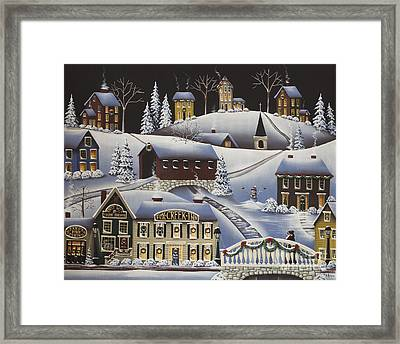 Christmas In Fox Creek Village Framed Print by Catherine Holman