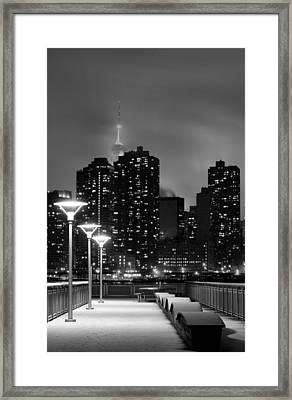 Christmas In Nyc Black And White Framed Print