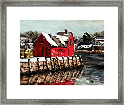 Christmas In Rockport Framed Print by Eileen Patten Oliver