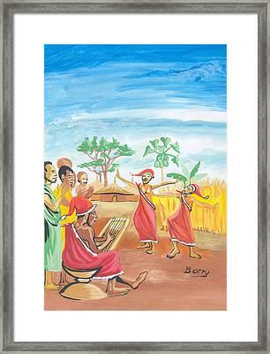 Framed Print featuring the painting Christmas In Rwanda by Emmanuel Baliyanga