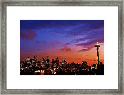 Christmas In Seattle Framed Print by Benjamin Yeager