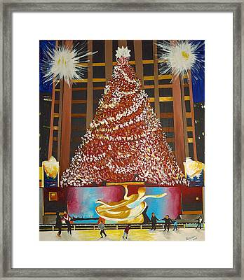 Christmas In The City Framed Print by Donna Blossom