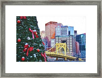 Christmas In The Steel City Van Gogh Style Framed Print
