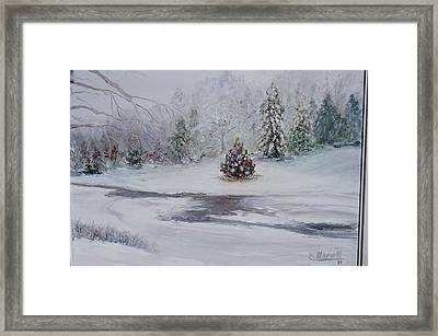 Framed Print featuring the painting Christmas In The Woods by Catherine Hamill