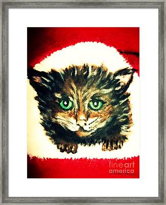 Framed Print featuring the painting Christmas Kitten  by Mindy Bench