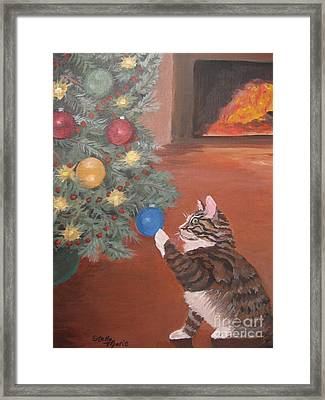 Christmas Kitty Cat Framed Print