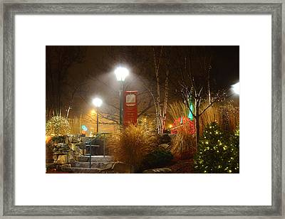 Christmas Lights In The Fog And Rain Framed Print by Stephen Hobbs