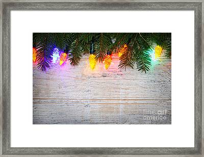 Christmas Lights With Pine Branches Framed Print