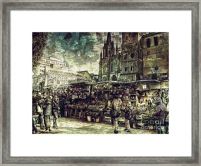 Christmas Market - A Dickensian Look Framed Print