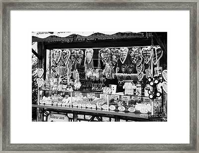 christmas market stall selling Lebkuchen and various sweets and nuts confectionery Berlin Germany Framed Print