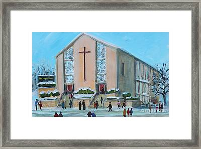 Christmas Mass At Saint Joseph's Church Framed Print by Rita Brown