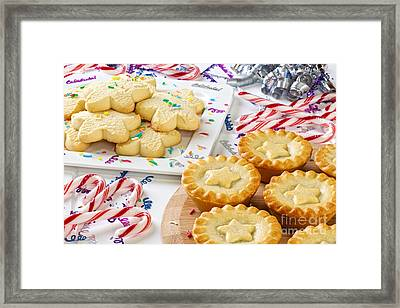Christmas Mince Pies Cookies Candy Canes Framed Print by Colin and Linda McKie