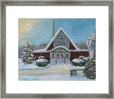 Framed Print featuring the painting Christmas Morning At Our Lady's Church by Rita Brown